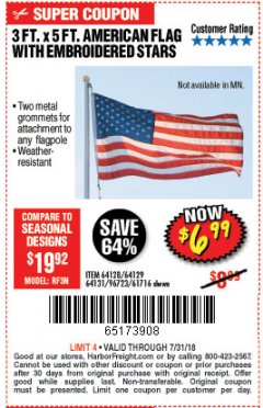Harbor Freight Coupon 3 FT. X 5 FT. AMERICAN FLAG WITH EMBROIDERED STARS Lot No. 61716/96723/64128/64129/64131 Expired: 7/31/18 - $6.99