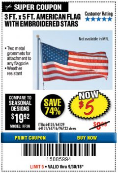 Harbor Freight Coupon 3 FT. X 5 FT. AMERICAN FLAG WITH EMBROIDERED STARS Lot No. 61716/96723/64128/64129/64131 Expired: 9/30/18 - $5