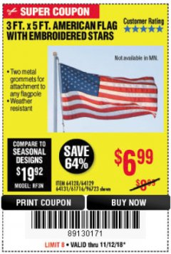 Harbor Freight Coupon 3 FT. X 5 FT. AMERICAN FLAG WITH EMBROIDERED STARS Lot No. 61716/96723/64128/64129/64131 Valid Thru: 11/18/18 - $6.99