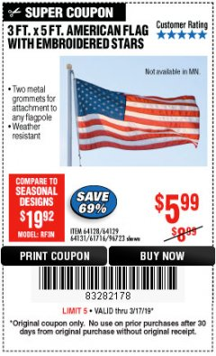 Harbor Freight Coupon 3 FT. X 5 FT. AMERICAN FLAG WITH EMBROIDERED STARS Lot No. 61716/96723/64128/64129/64131 Expired: 3/17/19 - $5.99