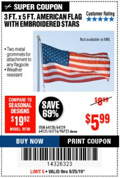 Harbor Freight Coupon 3 FT. X 5 FT. AMERICAN FLAG WITH EMBROIDERED STARS Lot No. 61716/96723/64128/64129/64131 Expired: 8/25/19 - $5.99