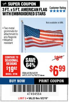 Harbor Freight Coupon 3 FT. X 5 FT. AMERICAN FLAG WITH EMBROIDERED STARS Lot No. 61716/96723/64128/64129/64131 Expired: 9/2/19 - $6.99