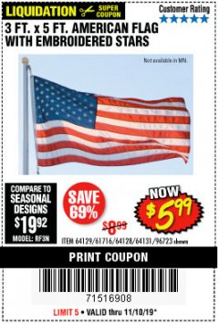 Harbor Freight Coupon 3 FT. X 5 FT. AMERICAN FLAG WITH EMBROIDERED STARS Lot No. 61716/96723/64128/64129/64131 Expired: 11/10/19 - $5.99