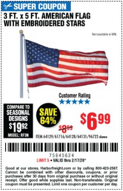 Harbor Freight Coupon 3 FT. X 5 FT. AMERICAN FLAG WITH EMBROIDERED STARS Lot No. 61716/96723/64128/64129/64131 Expired: 2/17/20 - $6.99
