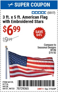 Harbor Freight Coupon 3 FT. X 5 FT. AMERICAN FLAG WITH EMBROIDERED STARS Lot No. 61716/96723/64128/64129/64131 Expired: 7/15/20 - $6.99