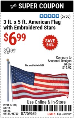 Harbor Freight Coupon 3 FT. X 5 FT. AMERICAN FLAG WITH EMBROIDERED STARS Lot No. 61716/96723/64128/64129/64131 Expired: 7/31/20 - $6.99