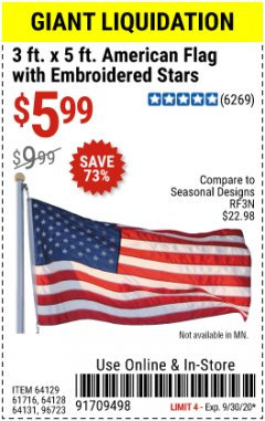 Harbor Freight Coupon 3 FT. X 5 FT. AMERICAN FLAG WITH EMBROIDERED STARS Lot No. 61716/96723/64128/64129/64131 Valid Thru: 9/30/20 - $5.99
