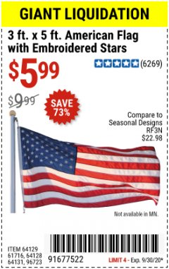Harbor Freight Coupon 3 FT. X 5 FT. AMERICAN FLAG WITH EMBROIDERED STARS Lot No. 61716/96723/64128/64129/64131 Valid: 9/1/20 - 9/30/20 - $5.99