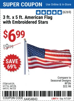 Harbor Freight Coupon 3 FT. X 5 FT. AMERICAN FLAG WITH EMBROIDERED STARS Lot No. 61716/96723/64128/64129/64131 Expired: 9/7/20 - $6.99