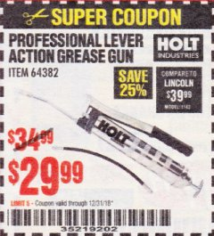 Harbor Freight Coupon PROFESSIONAL LEVER ACTION GREASE GUN Lot No. 64382 Expired: 12/31/18 - $29.99