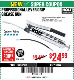 Harbor Freight Coupon PROFESSIONAL LEVER ACTION GREASE GUN Lot No. 64382 Expired: 1/27/19 - $24.99
