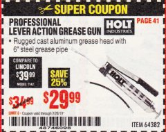 Harbor Freight Coupon PROFESSIONAL LEVER ACTION GREASE GUN Lot No. 64382 Valid Thru: 2/28/19 - $29.99