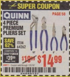 Harbor Freight Coupon QUINN 4 PIECE PLIERS SET Lot No. 64262 Expired: 1/31/19 - $14.99
