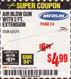 Harbor Freight Coupon MERLIN AIR BLOW GUN WITH 2 FT. EXTENSION Lot No. 63574 Expired: 12/31/18 - $4.99