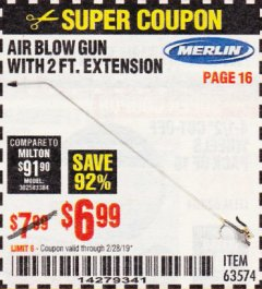 Harbor Freight Coupon MERLIN AIR BLOW GUN WITH 2 FT. EXTENSION Lot No. 63574 Expired: 2/28/19 - $6.99