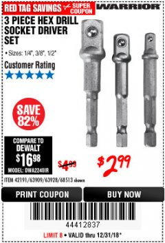 Harbor Freight Coupon 3 PIECE HEX DRILL SOCKET DRIVER SET Lot No. 63909/42191/63928/68513 Expired: 12/31/18 - $2.99