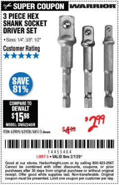 Harbor Freight Coupon 3 PIECE HEX DRILL SOCKET DRIVER SET Lot No. 63909/42191/63928/68513 Expired: 2/7/20 - $2.99
