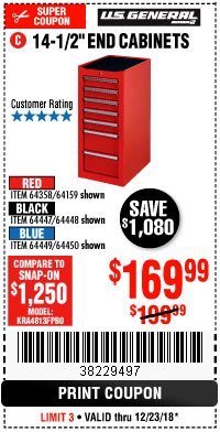 "Harbor Freight Coupon 14-1/2"" END CABINETS Lot No. 64358/64159/64447/64448/64449/64450 Expired: 12/23/18 - $169.99"