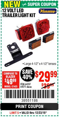 Harbor Freight Coupon 12 VOLT LED TRAILER LIGHT KIT Lot No. 64337/64275 Expired: 12/23/18 - $29.99