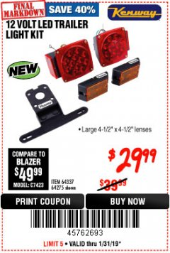 Harbor Freight Coupon 12 VOLT LED TRAILER LIGHT KIT Lot No. 64337/64275 Expired: 1/31/19 - $29.99
