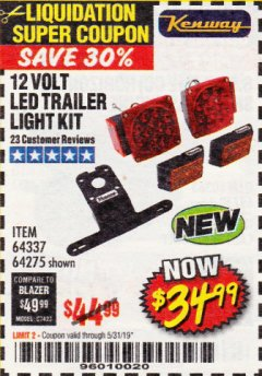 Harbor Freight Coupon 12 VOLT LED TRAILER LIGHT KIT Lot No. 64337/64275 Expired: 5/31/19 - $34.99