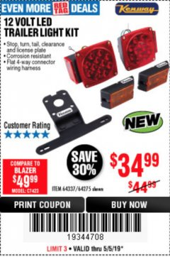 Harbor Freight Coupon 12 VOLT LED TRAILER LIGHT KIT Lot No. 64337/64275 Expired: 5/5/19 - $34.99