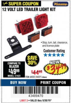 Harbor Freight Coupon 12 VOLT LED TRAILER LIGHT KIT Lot No. 64337/64275 Expired: 9/30/19 - $34.99