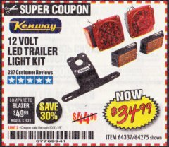 Harbor Freight Coupon 12 VOLT LED TRAILER LIGHT KIT Lot No. 64337/64275 Expired: 10/31/19 - $34.99