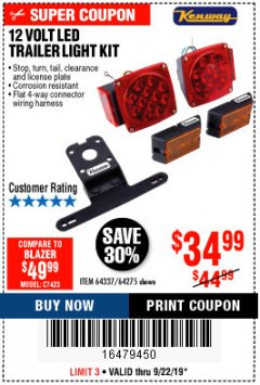 Harbor Freight Coupon 12 VOLT LED TRAILER LIGHT KIT Lot No. 64337/64275 Expired: 9/22/19 - $34.99