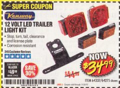 Harbor Freight Coupon 12 VOLT LED TRAILER LIGHT KIT Lot No. 64337/64275 Expired: 11/30/19 - $34.99