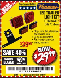 Harbor Freight Coupon 12 VOLT LED TRAILER LIGHT KIT Lot No. 64337/64275 Expired: 2/15/20 - $29.99