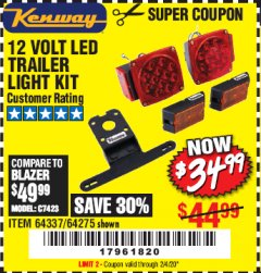 Harbor Freight Coupon 12 VOLT LED TRAILER LIGHT KIT Lot No. 64337/64275 Expired: 2/4/20 - $34.99
