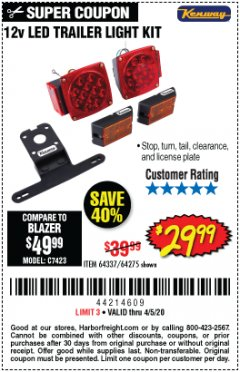 Harbor Freight Coupon 12 VOLT LED TRAILER LIGHT KIT Lot No. 64337/64275 Valid Thru: 4/5/20 - $29.99