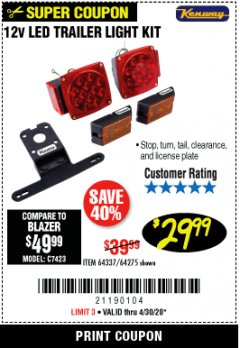 Harbor Freight Coupon 12 VOLT LED TRAILER LIGHT KIT Lot No. 64337/64275 Valid: 3/26/20 - 4/30/20 - $29.99