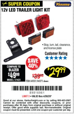 Harbor Freight Coupon 12 VOLT LED TRAILER LIGHT KIT Lot No. 64337/64275 Valid: 3/23/20 - 4/30/20 - $29.99