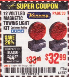 Harbor Freight Coupon 12 VOLT LED MAGNETIC TOWING LIGHT KIT Lot No. 64282 Expired: 2/28/19 - $32.99