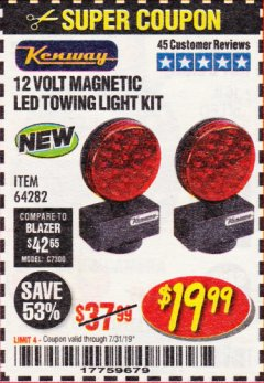 Harbor Freight Coupon 12 VOLT LED MAGNETIC TOWING LIGHT KIT Lot No. 64282 Expired: 7/31/19 - $19.99
