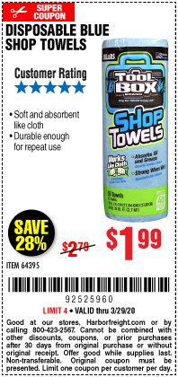 Harbor Freight Coupon DISPOSABLE BLUE SHOP TOWELS Lot No. 64395 Valid Thru: 3/29/20 - $1.99