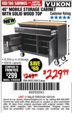 "Harbor Freight Coupon 46"" MOBILE WORKBENCH WITH SOLID WOOD TOP Lot No. 64023/64012 Expired: 12/31/18 - $229.99"