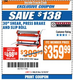 "Harbor Freight ITC Coupon 30"" SHEAR PRESS BRAKE AND SLIP ROLL Lot No. 62927/5907 Expired: 12/18/18 - $359.99"
