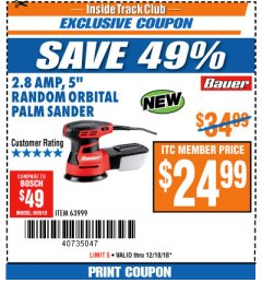 "Harbor Freight ITC Coupon BAUER 2.8 AMP 5"" RANDOM ORBITAL PALM SANDER Lot No. 63999 Expired: 12/18/18 - $24.99"