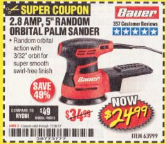 "Harbor Freight Coupon BAUER 2.8 AMP 5"" RANDOM ORBITAL PALM SANDER Lot No. 63999 Valid Thru: 11/30/19 - $24.99"