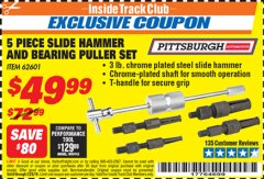 Harbor Freight ITC Coupon 5 PIECE SLIDE HAMMER AND BEARING PULLER SET Lot No. 62601 Dates Valid: 12/31/69 - 2/28/19 - $49.99