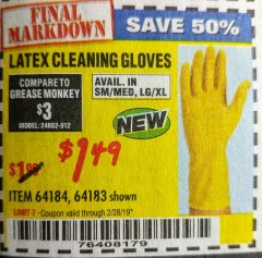 Harbor Freight Coupon LATEX CLEANING GLOVES 2 PAIR Lot No. 64184/64183 EXPIRES: 2/28/19 - $1.49