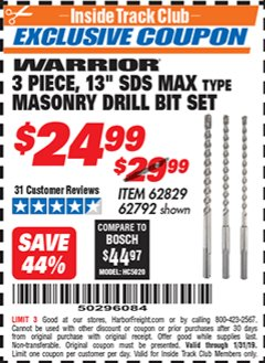 "Harbor Freight ITC Coupon 3 PIECE 13"" SDS MAX TYPE MASONRY DRILL BIT SET WARRIOR Lot No. 62829/ 62792 Expired: 1/31/19 - $24.99"