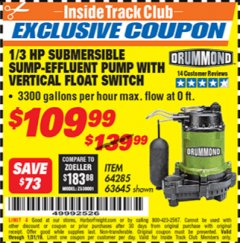 Harbor Freight ITC Coupon 1/3 HP SUBMERSIBLE SUMP-EFFLUENT PUMP WITH VERTICAL FLOAT SWITCH Lot No. 64285/63645 Expired: 1/31/19 - $109.99