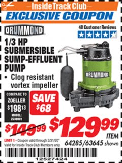 Harbor Freight ITC Coupon 1/3 HP SUBMERSIBLE SUMP-EFFLUENT PUMP WITH VERTICAL FLOAT SWITCH Lot No. 64285/63645 Expired: 3/31/20 - $129.99