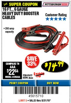 Harbor Freight Coupon 16 FT. 6 GAUGE HEAVY DUTY BOOSTER CABLES Lot No. 60396 Expired: 8/31/18 - $14.99