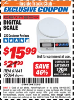 Harbor Freight ITC Coupon CEN TECH DIGITAL SCALE Lot No. 95364,61641 Expired: 1/31/19 - $15.99