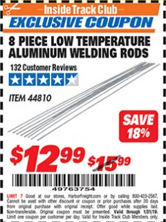 Harbor Freight ITC Coupon 8 PIECE LOW TEMPERATURE ALUMINUM WELDING RODS Lot No. 44810 Expired: 1/31/19 - $12.99